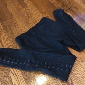 Pam & Gela Pants - Pam & Gela Black lace-up sweatpants